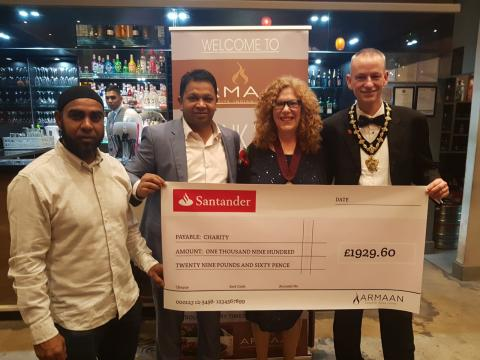 Mayor thanks Armaan restaurant for major charity donation