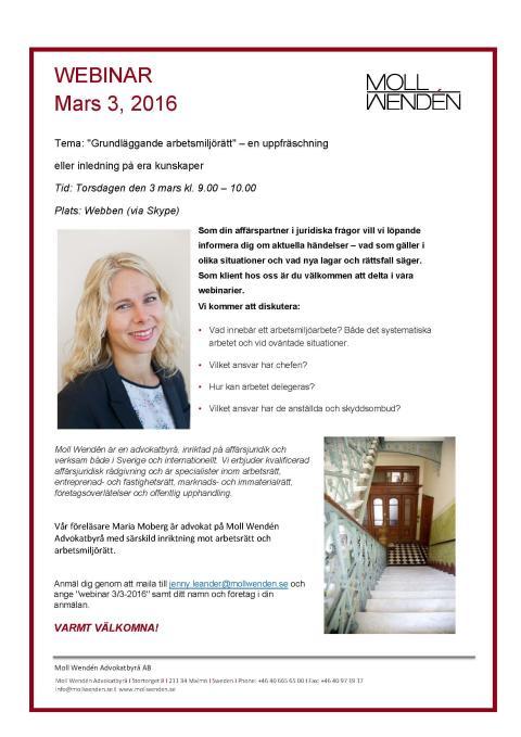 Välkommen att delta i ett nytt, aktuellt Webinar från Moll Wendén