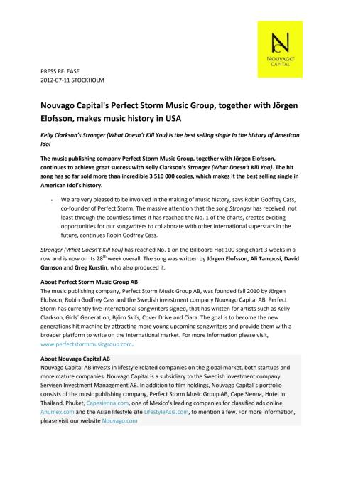 Nouvago Capital together with Jörgen Elofsson makes music history in USA