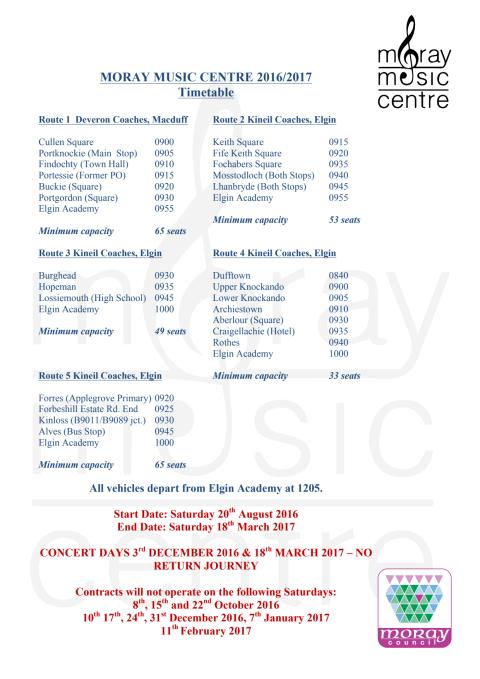 Moray Music Centre Bus Time Table 2016-17