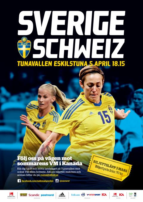 Affisch landskamp på Tunavallen