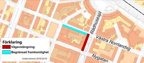 Karta avstängning Rådhusesplanden 20160215