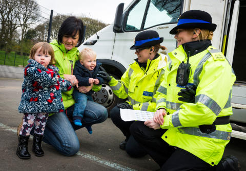 Police Community Support Officers meet local residents in Milnrow Memorial Park.