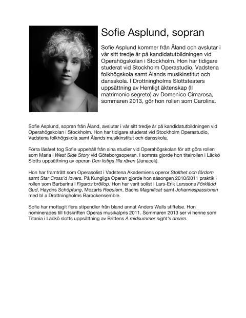 Sofie Asplund, sopran / Soprano