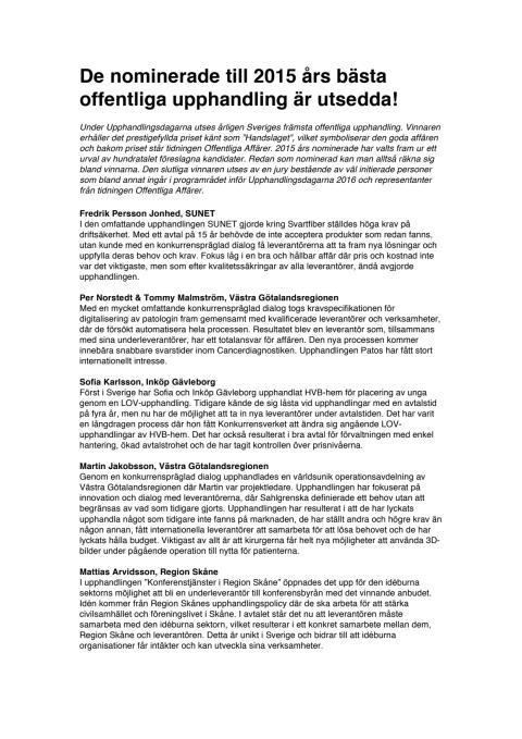 Nominerade till Handslaget 2015!