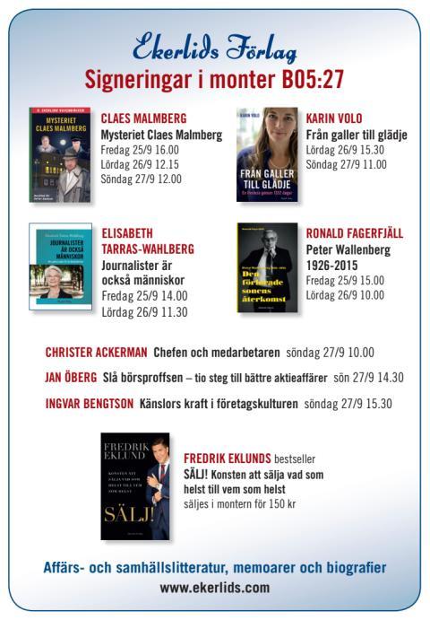 Claes Malmberg, Elisabeth Tarras-Wahlberg m fl i Ekerlids monter på bokmässan