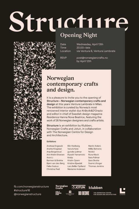 INVITASJON:  STRUCTURE - Norwegian contemporary crafts and design  - Opening Night 14. April 2016