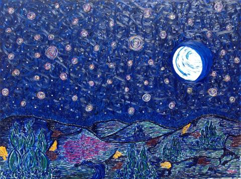 """""""Never Alone!""""  An expressionist painting. Showing that the light is always shining, in the moon, the stars and beyond the horizon."""