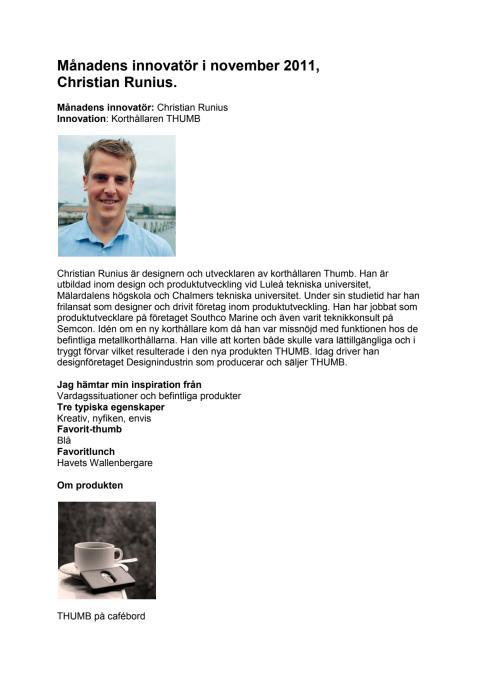 Christian Runius, Månadens innovatör i november