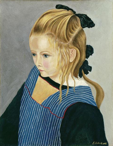 Adolf Dietrich: Mädchen mit gestreifter Schürze, 1923
