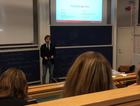 Denis Ilecic holds lecture at Chalmers School of Entrepreneurship