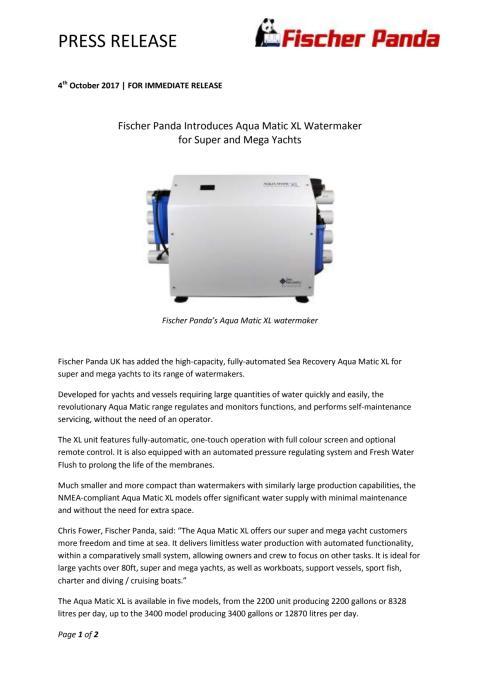 Fischer Panda Introduces Aqua Matic XL Watermaker  for Super and Mega Yachts