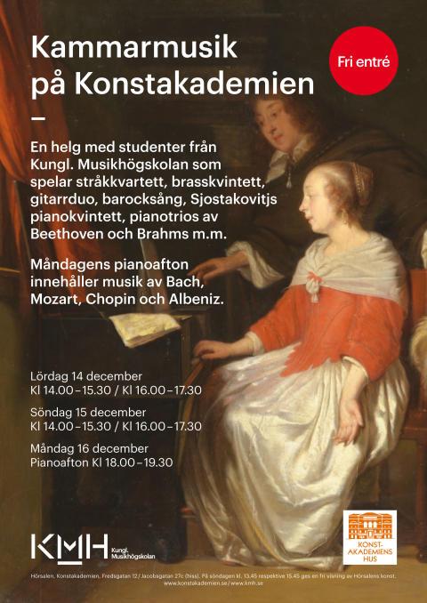 Fem konserter, fem program: Kammarmusik och pianoafton med KMH på Konstakademien