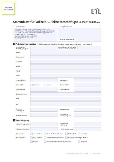 Personalstammblatt für Voll- und Teilzeitkräfte