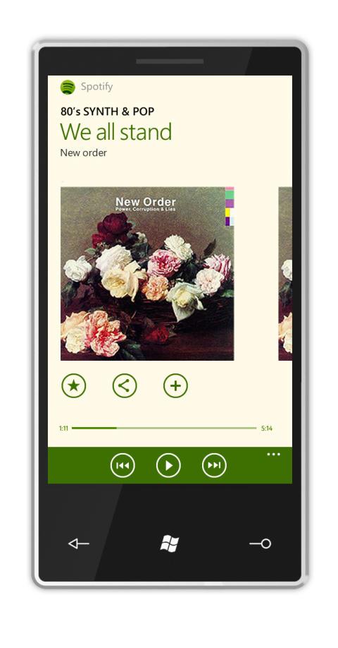 Spotify för WP7.5 i användning