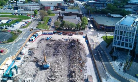 The old bus station and car park are no more than rubble