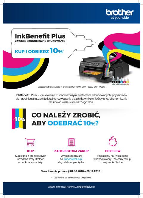 Brother: kup drukarkę z serii InkBenefit Plus i odbierz 10 procent ceny zakupu