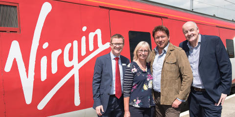 James Martin is joined by David Horne, Managing Director at Virgin Trains on the east coast and Julia Colebatch and Martin Bennett from Fruity Kitchen, to celebrate the launch of his refreshed seasonal menu