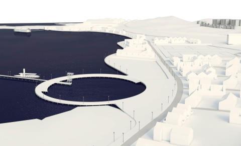Modell över ny strandpromenad i Alingsås