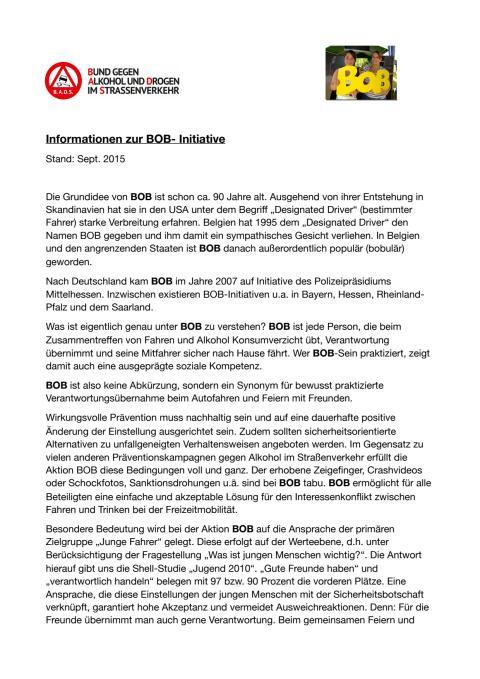 Informationen zur BOB-Initiative