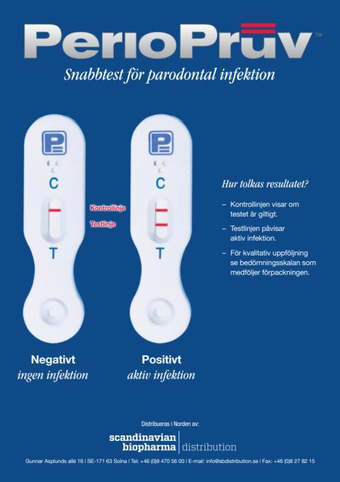 Nu finns det ett diagnostiskt snabbtest- PerioPruvTM som snabbt och säkert kan påvisa om man löper risk för tandlossning. Scandinavian Biopharma kommer att presentera det nya hjälpmedlet på flera möten under hösten