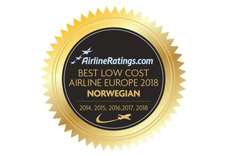 Norwegian named Europe's Best Low Cost Airline for fifth consecutive year at industry awards