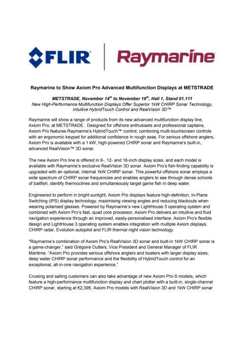 Raymarine - METSTRADE Press Kit - Press Release #2