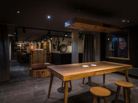 Equipment rental store at HUUS Hotel, Gstaad, designed by Stylt Trampoli