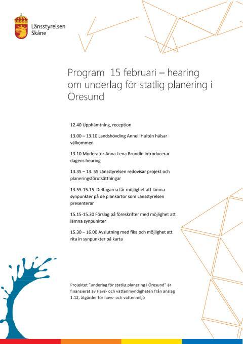 Program för hearing om Öresund 15 mars