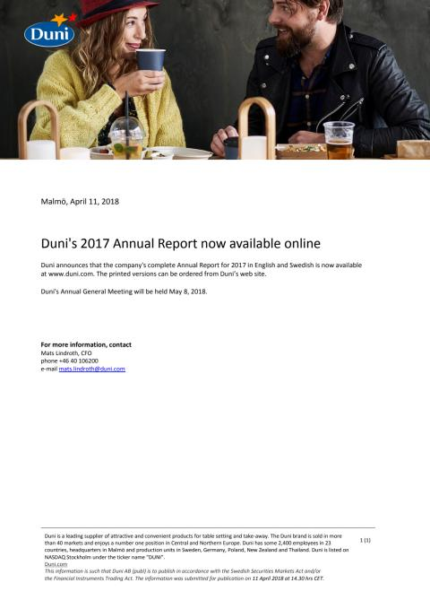 Duni's 2017 Annual Report now available online