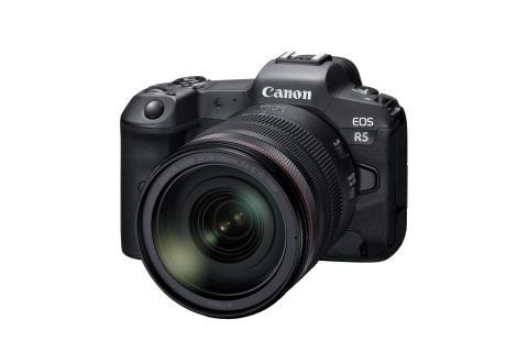 Canon EOS R5_BK_FrontSlantLeft_RF-24-105mm_F4LISUSM