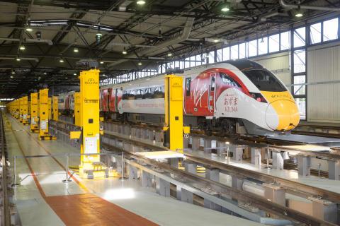 Japanese Prime Minister Shinzo Abe and UK Prime Minister David Cameron visit Hitachi Train Maintenance Centre