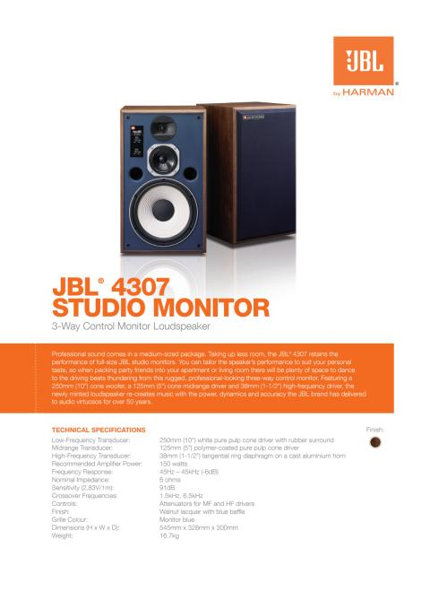 JBL 4307 Studio Monito - HARMAN Lifestyle