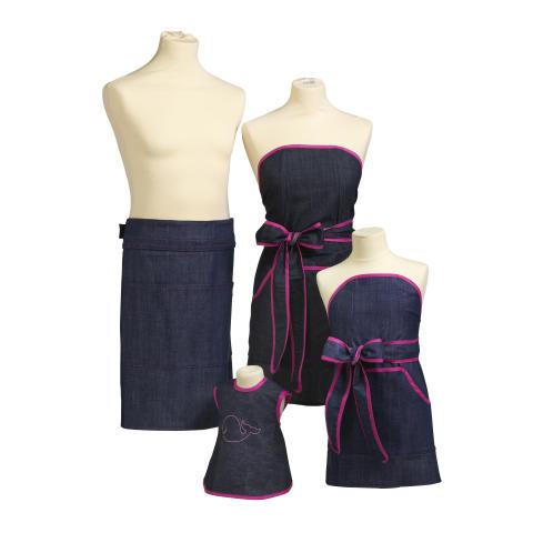 Denimförkläden med rosa kantband