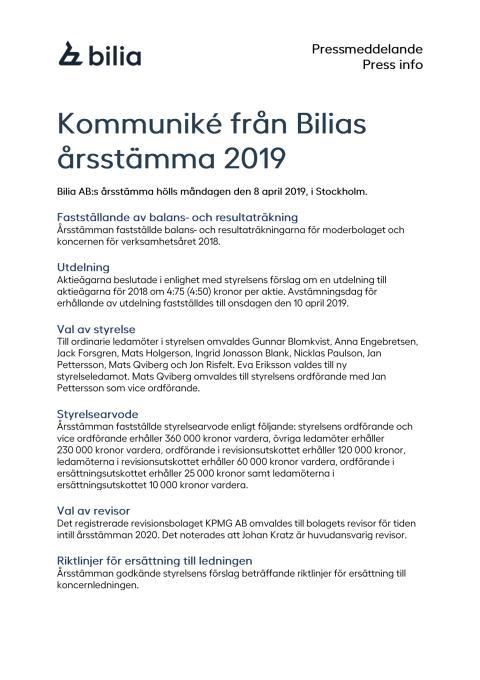 Kommuniké från Bilias årsstämma 2019