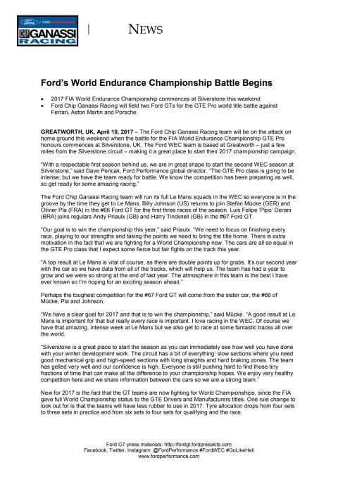 MOTORSPORT: Ford's World Endurance Championship Battle Begins
