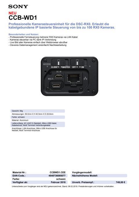 Datenblatt DSC-RX0 Kamerasteuereinheit CCB-WD1 von Sony