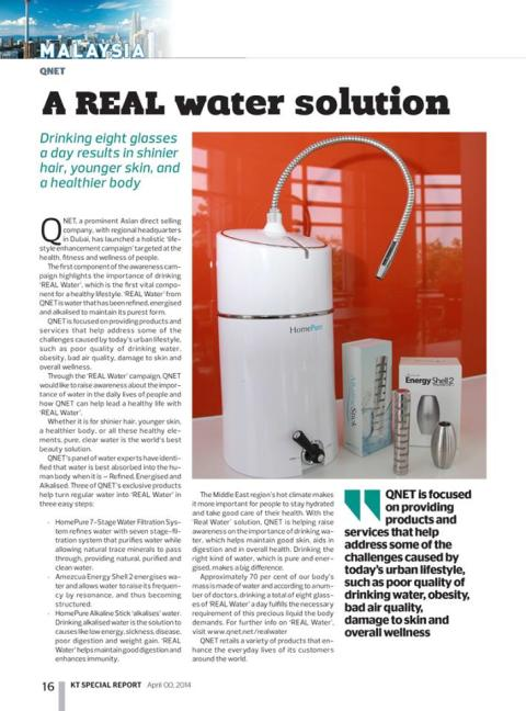 QNET's REAL Water in UAE's Khaleej Times