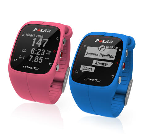 Polar M400 i rosa og blå
