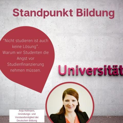 """Standpunkt Bildung: """"Nicht studieren ist auch keine Lösung""""."""
