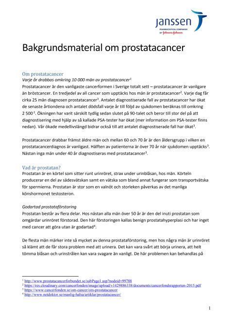 Bakgrundsmaterial om prostatacancer