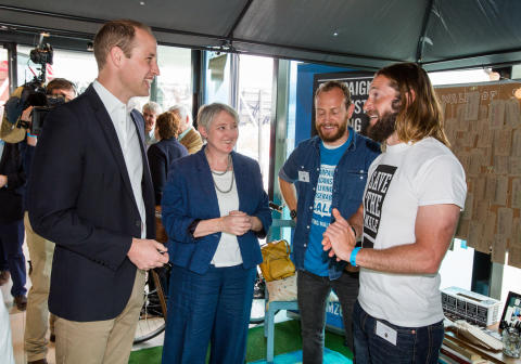 Duke of Cambridge talks to CALM at Heads Together launch, May 2016