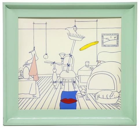 Marie-Louise Ekman, En god natt-apparat, 1984, gouache på siden, 62x58cm