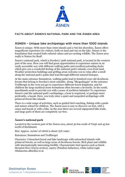 Fakta om Åsnen området