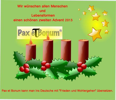 Grüße zum zweiten Advent vom Pax et Bonum Verlag Berlin
