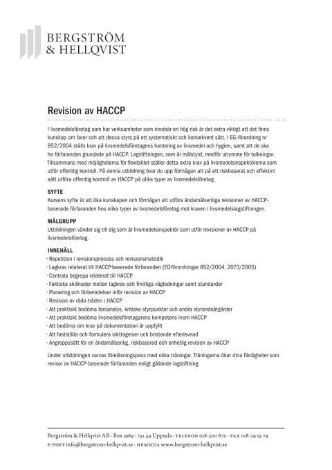 Revision av HACCP