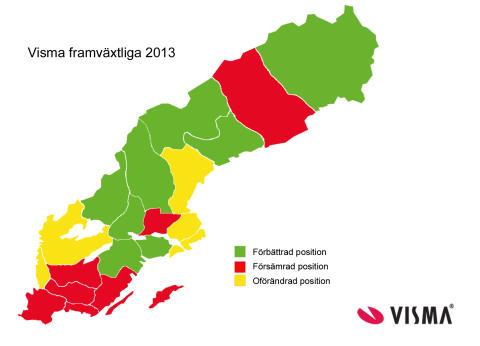 Kartan över heta och svala län juni 2013