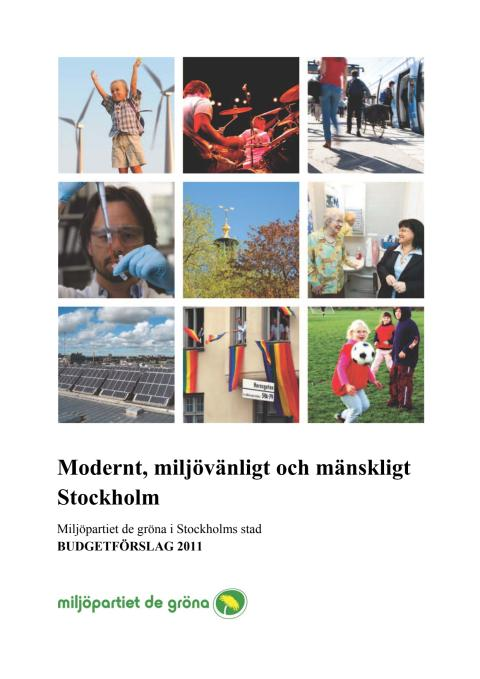 Miljöpartiets förslag till budget 2011