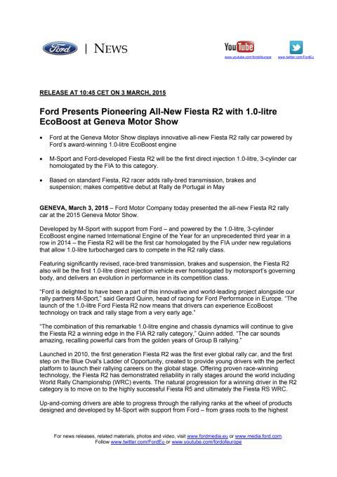 Ford Fiesta R2 rally bil - Genève Motor Show