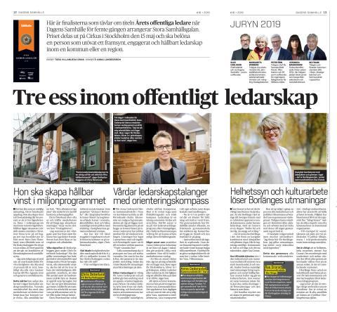 Pressmeddelande Dagens Samhälle - Årets offentliga ledare